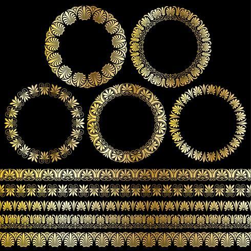 quadros de círculo ornamentais gregos de ouro metálico e padrões de fronteira vetor