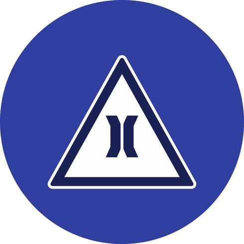 Ícone de sinal de estrada estreita ponte vector