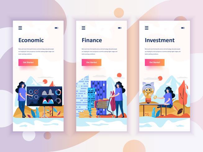 Ensemble de kit d'interface utilisateur d'écrans d'intégration pour l'économie, la finance, l'investissement, le concept de modèles d'application mobile. UX moderne, écran d'interface utilisateur pour site Web mobile ou respons vecteur