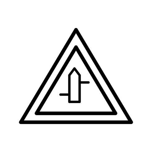 Vector de cruce de carreteras menores de derecha a izquierda Icono de signo de carretera