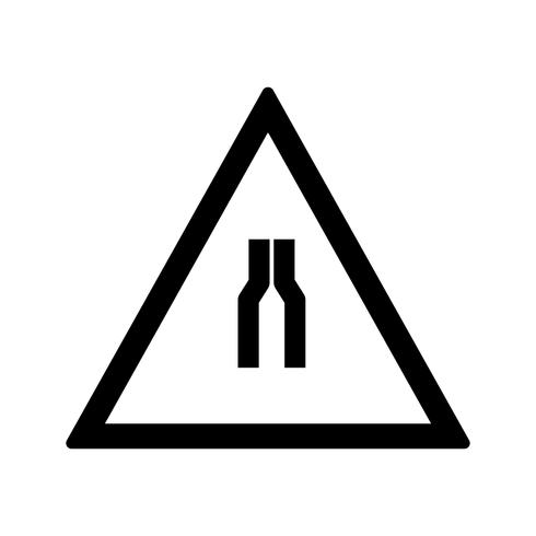 Vector Road narrows on both side Road Sign Icon