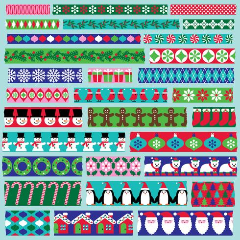 Clipart de fita de washi de Natal vetor