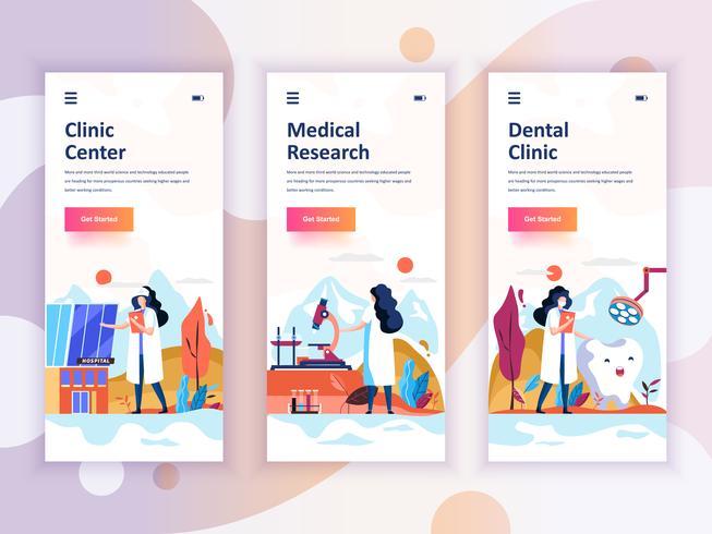 Set di kit di interfaccia utente per schermi onboarding per Medicina, Ricerca, Clinica dentale, concetto di modelli di app per dispositivi mobili. UX moderno, schermo dell'interfaccia utente per sito web mobile o reattivo. Illustrazione vettoriale