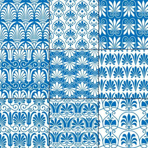 blaue und weiße nahtlose klassische griechische Muster