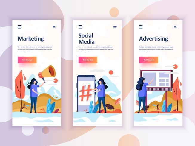 Set of onboarding screens user interface kit for Marketing, Social Media, Advertising, mobile app templates concept. Modern UX, UI screen for mobile or responsive web site. Vector illustration.