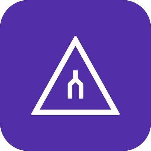 Vecteur double chaussée se termine icône de panneau de signalisation