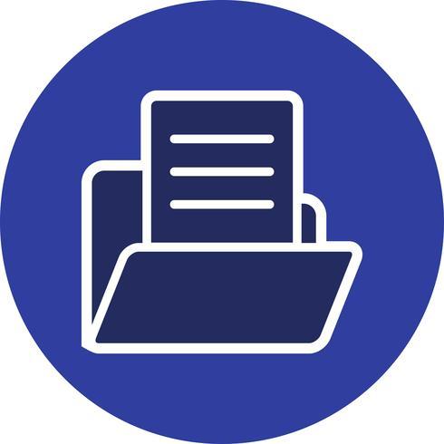 Vector de documento en el icono de carpeta