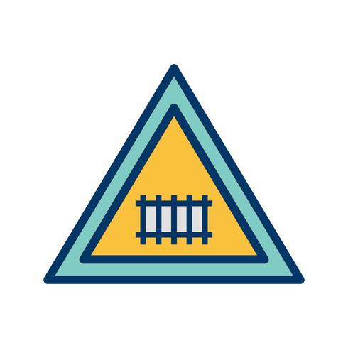 Icône de panneau de signalisation de passage à niveau de vecteur (avec porte)