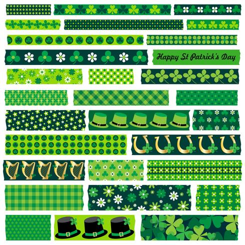saint patrick washi tape clipart vecteur