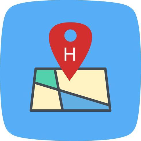 Icône de localisation d'hôpital de vecteur