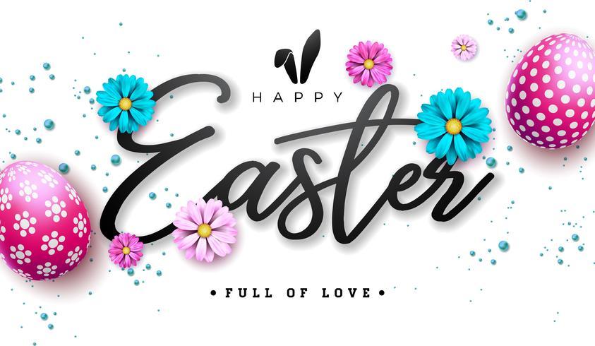 Glad påsk illustration med rödmålat ägg och vårblomma på vit bakgrund.