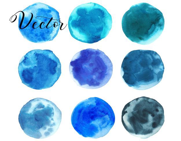 Set van aquarel vlek. Vlekken op een witte achtergrond. Waterverftextuur met borstelslagen. Blauw, turkoois, groen, smaragd. Zee, lucht. Cirkel. Geïsoleerd. Vector.