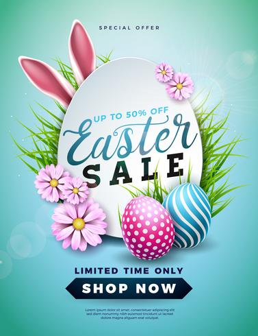 Easter Sale Illustration with Color Painted Egg, Spring Flower and Rabbit Ears on Blue Background