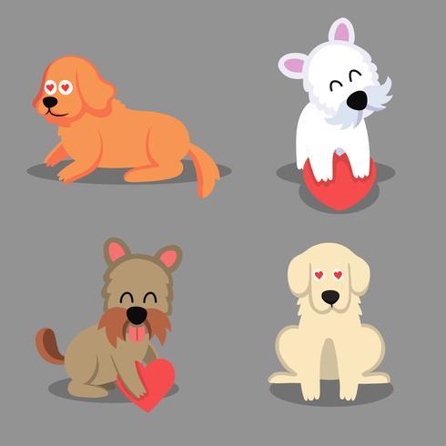 Cartone animato cucciolo e cane cuccioli felici con museruola