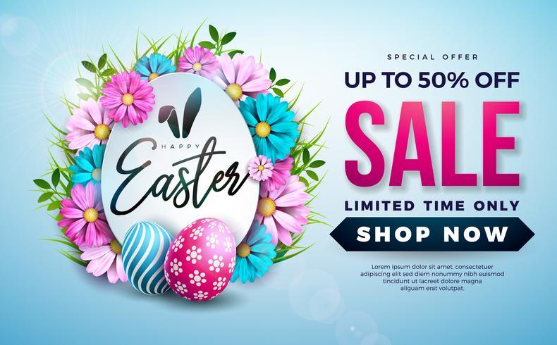 Ilustração da venda da Páscoa com a flor pintada ovo da cor e da mola no fundo azul.