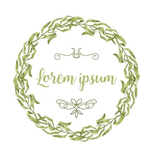 Vector tarjetas de invitación con ramitas de hierbas y ramas corona y esquinas marcos de frontera.