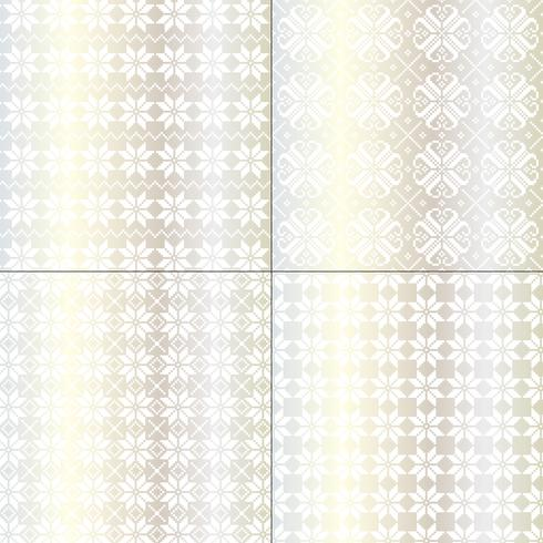 metallic silver and white nordic snowflake patterns vector