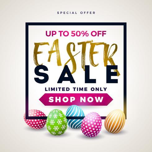 Påsk-försäljning Illustration med färgmålat ägg på vit bakgrund.