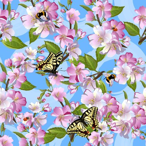 Spring seamless pattern with flowers of apple, Machaon butterflies, bumblebees and ladybirds against a blue sky.