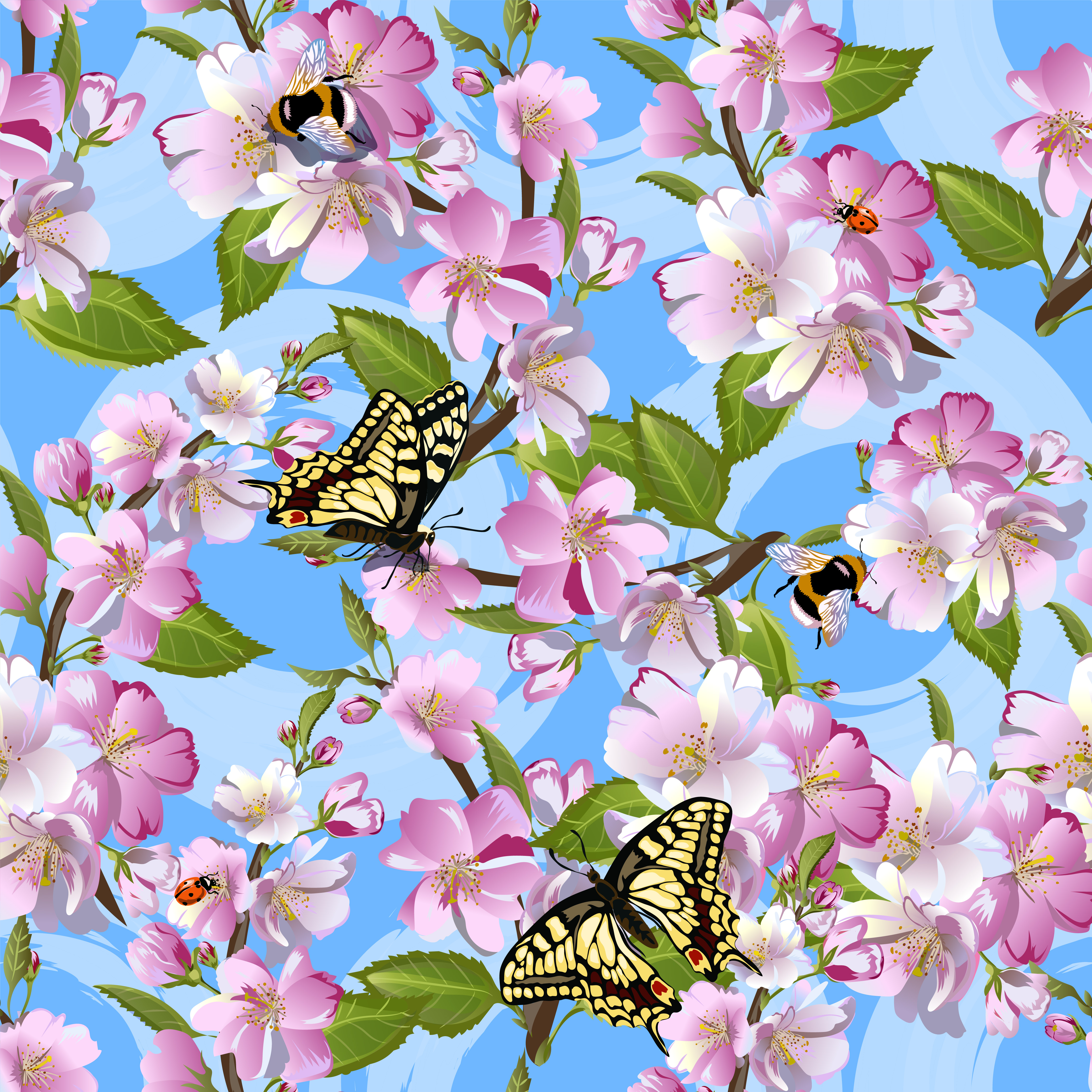 Spring Seamless Pattern With Flowers Of Apple, Machaon