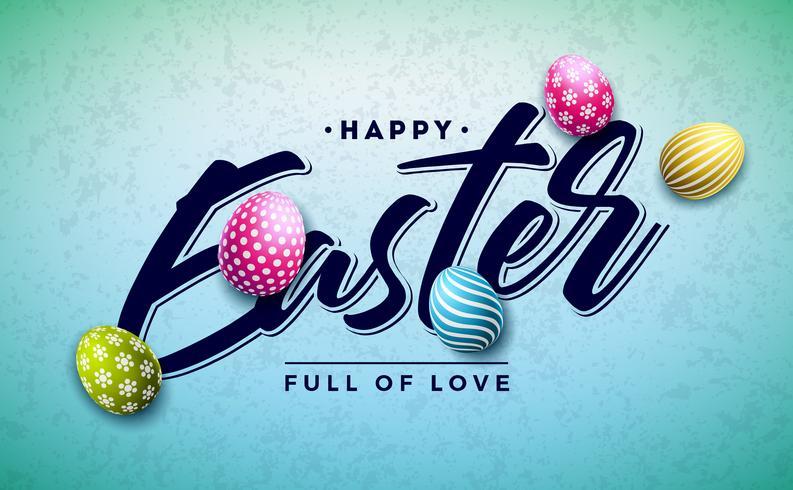 Vrolijk Pasen-vakantieontwerp met Kleurrijk Geschilderd Ei en Gouden Typografiebrief