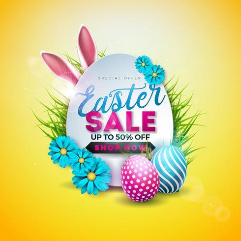 Ilustração da venda da Páscoa com o ovo pintado cor, a flor da mola e as orelhas de coelho no fundo amarelo.