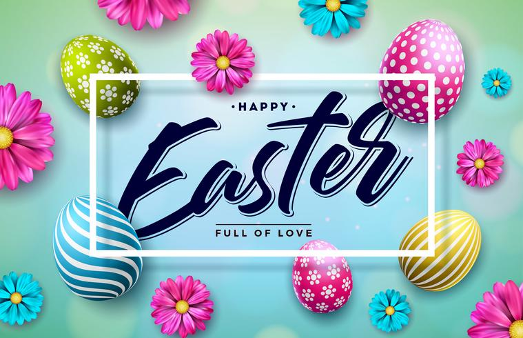 Happy Easter Illustration with Colorful Painted Egg and Spring Flower on Blue Background.