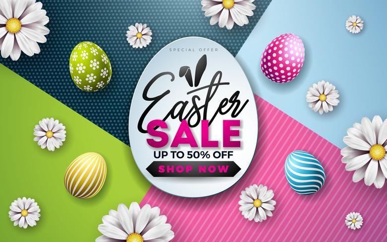 Ostern-Verkaufs-Illustration mit Farbe gemaltem Ei, Frühlingsblume und den Kaninchenohren auf buntem Hintergrund.