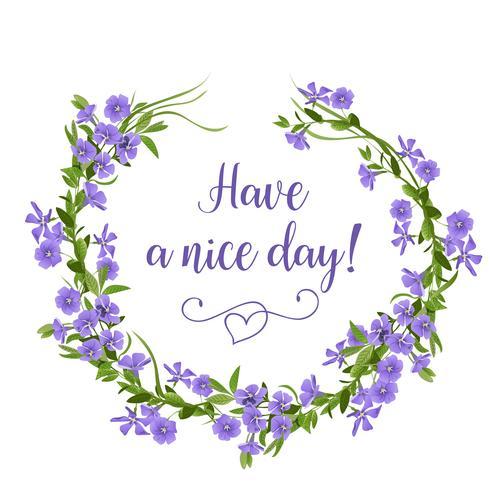 Dibujado a mano guirnalda de flores de bígaro. Plantilla de tarjeta de felicitación de flores de primavera. vector