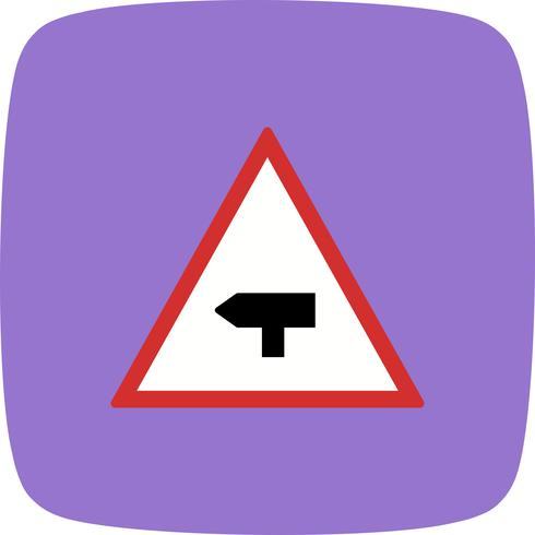 Vector Major Cross Road Road Sign Icon