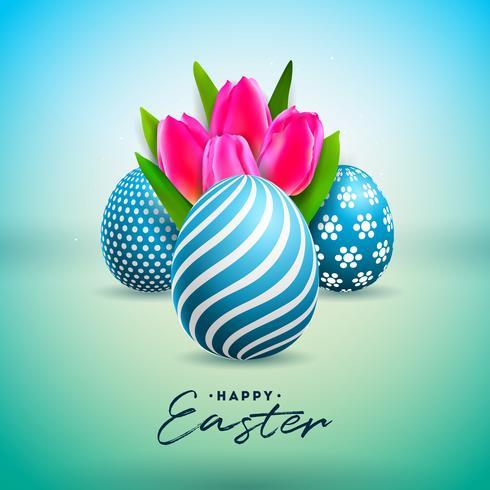 Illustration vectorielle de joyeuses fêtes de Pâques avec fleur d'oeuf peint et de tulipe
