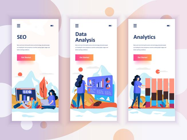 Set of onboarding screens user interface kit for SEO, Data Analysis, Analytics, mobile app templates concept. Modern UX, UI screen for mobile or responsive web site. Vector illustration.