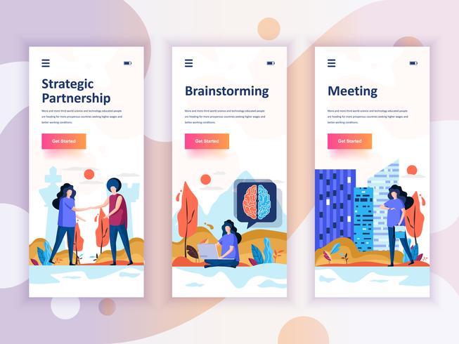 Set di kit di interfaccia utente per schermi onboarding per Partnership, Brainstorming, Meeting, concept di modelli di app per dispositivi mobili. UX moderno, schermo dell'interfaccia utente per sito web mobile o reattivo. Illustrazione vettoriale
