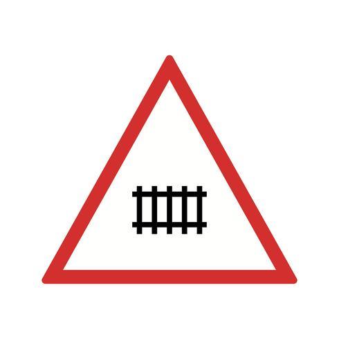 Passagem de nível de vetor (com portão) Ícone de sinal de estrada
