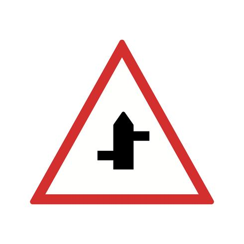 Vector Minor Cross Roads van rechts naar links verkeersbord pictogram