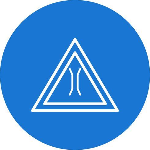 Icona del segnale stradale di ponte stretto di vettore