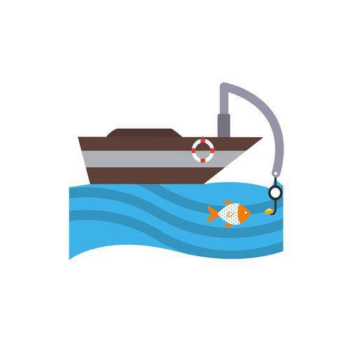 Ícone de barco de pesca de vetor