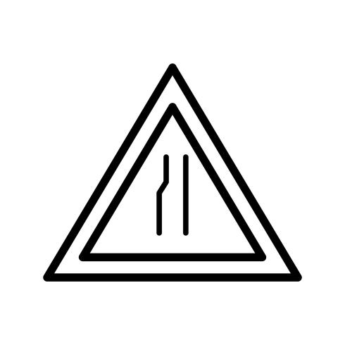 Vector Road narrows on Left Road Sign Icon