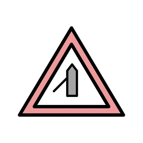 Vector Minor Cross Road From Left Road Sign Icon