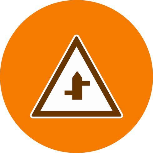 Vector Minor Cross Roads Da destra a sinistra Icona del segnale stradale