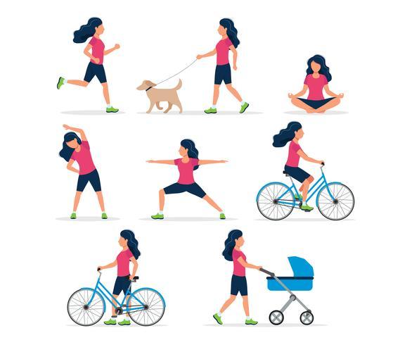 Glad kvinna gör olika utomhusaktiviteter: springa, hund gå, yoga, träna, sport, cykla, gå med barnvagn.