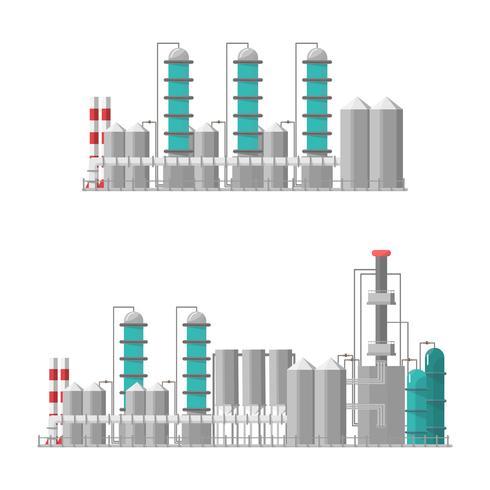 Fábrica industrial de estilo plano. Vector e ilustración de edificio de fabricación.