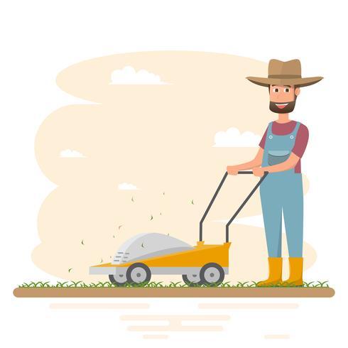 granjero hombre cortando hierba con cortacésped vector