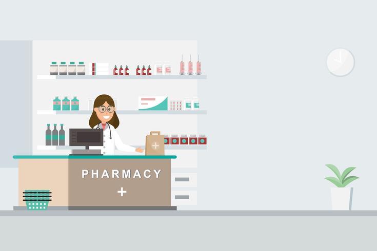 Farmacia con enfermera en mostrador. personaje de dibujos animados de droguería