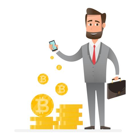 cryptocurrency technology, bitcoin exchange, bitcoin mining, mobile banking. man holding mobile phone with relocating bitcoins into floor vector