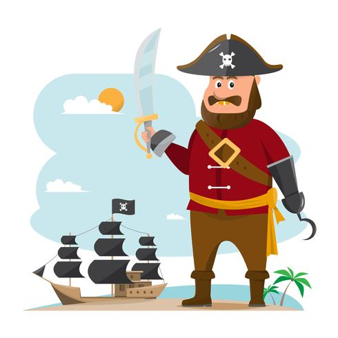 cartoon vector illustration. pirate adventure with old ship