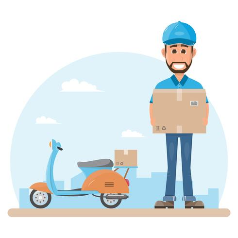 delivery man with box. Postman design isolated on white background. Courier in hat and uniform with package.
