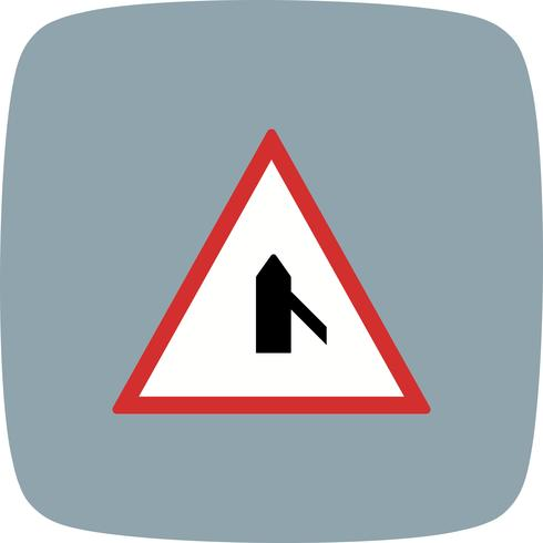 Vector Minor Cross Road From Right Road Sign Icon