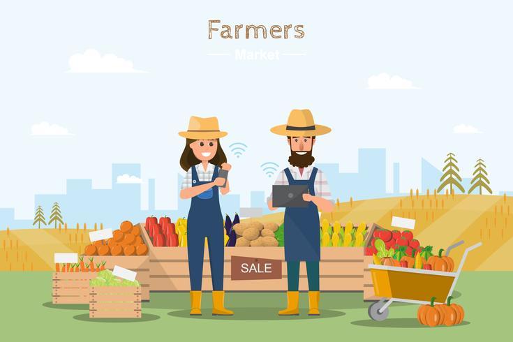 Tienda de granja. Mercado local. Venta de frutas y hortalizas. en línea.