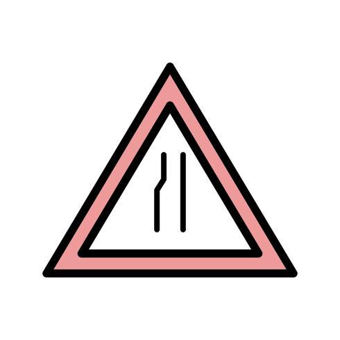 La strada di vettore si restringe sull'icona del segnale stradale di sinistra
